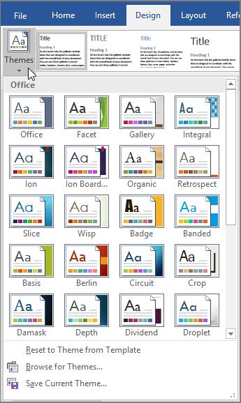 ffice 365 Word Themes
